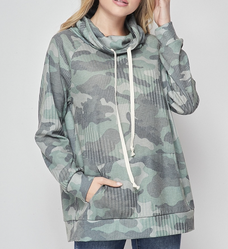 Long Sleeve Camo Print Cowl Neck Top