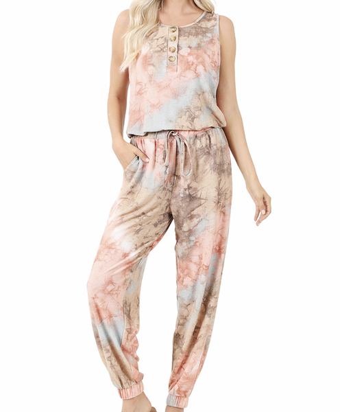 Sleeveless Tie Dye Jumpsuit with Button Detail