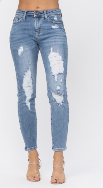 Judy Blue High Rise Distressed Relaxed Jeans