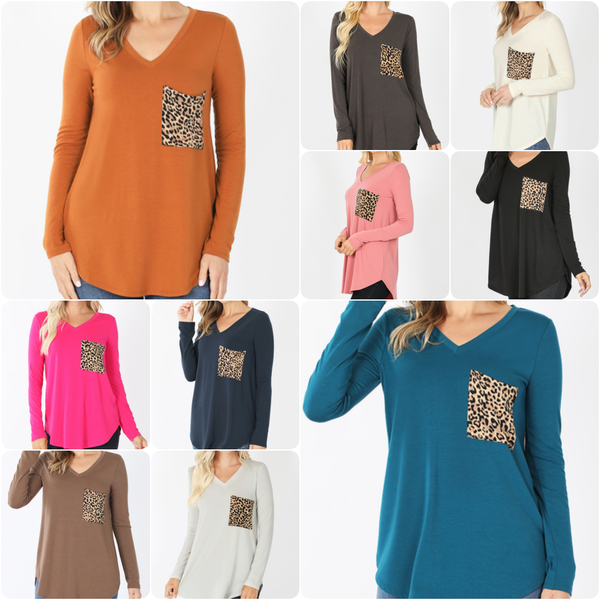 Long Sleeve V Neck Solid Top with Leopard Pocket Detail