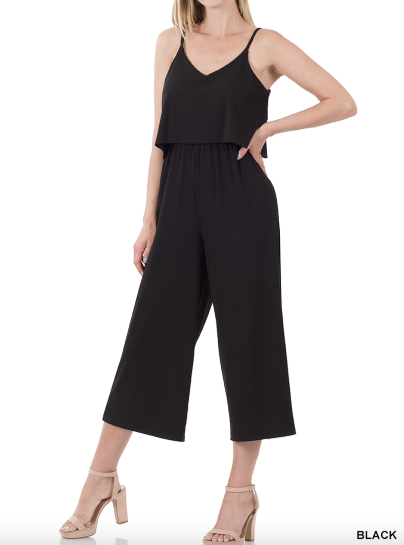 Spaghetti Strap Ribbed Double Layer Jumpsuit