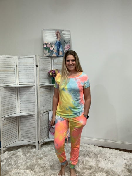 Full Length Joggers in Bright Tie Dye Print
