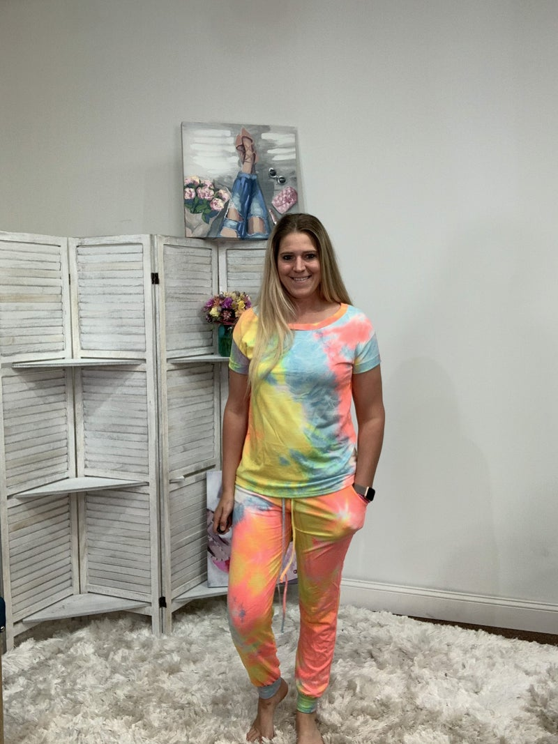 Full Length Joggers in Bright Tie Dye Print