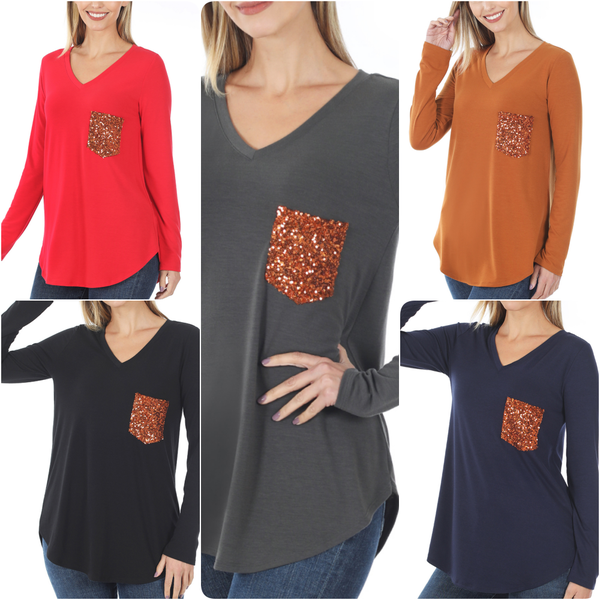 Long Sleeve V Neck Solid Top with Sequin Pocket Detail