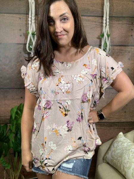 Short Sleeve Ruffle Shoulder Floral Print Top