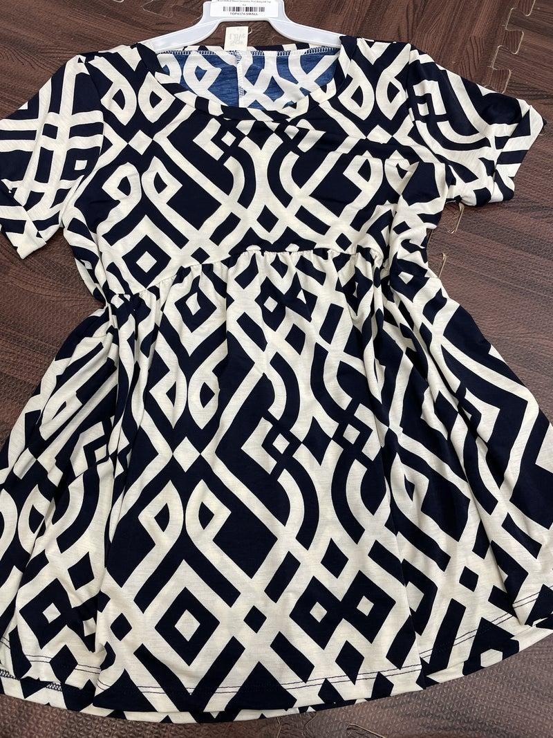 Short Rolled Sleeve Geometric Print Babydoll Top