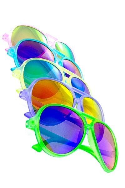 Kids Neon Aviator Mirrored Lens Sunglasses