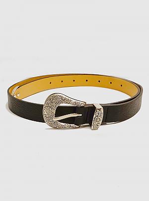 Designer Inspired Buckle Leatherette Belt