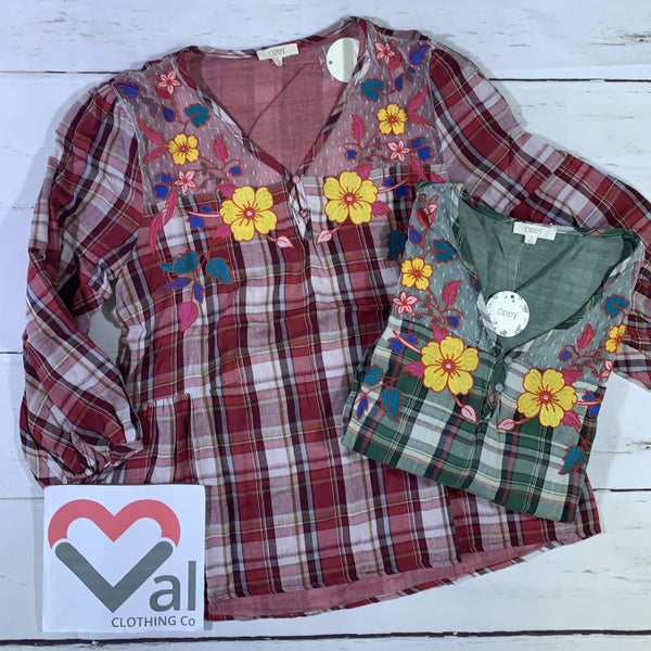 3/4 Sleeve Plaid Top with Floral Embroider Detail