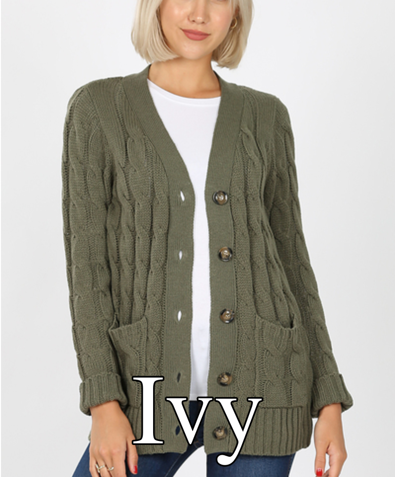 Long Sleeve Cable Knit Solid Cardigan
