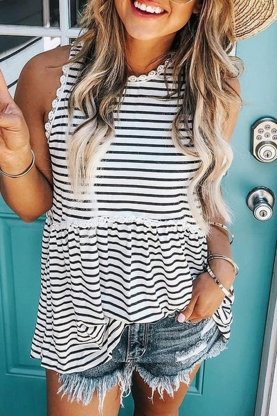 Sleeveless Striped Top with Embroidery Detail