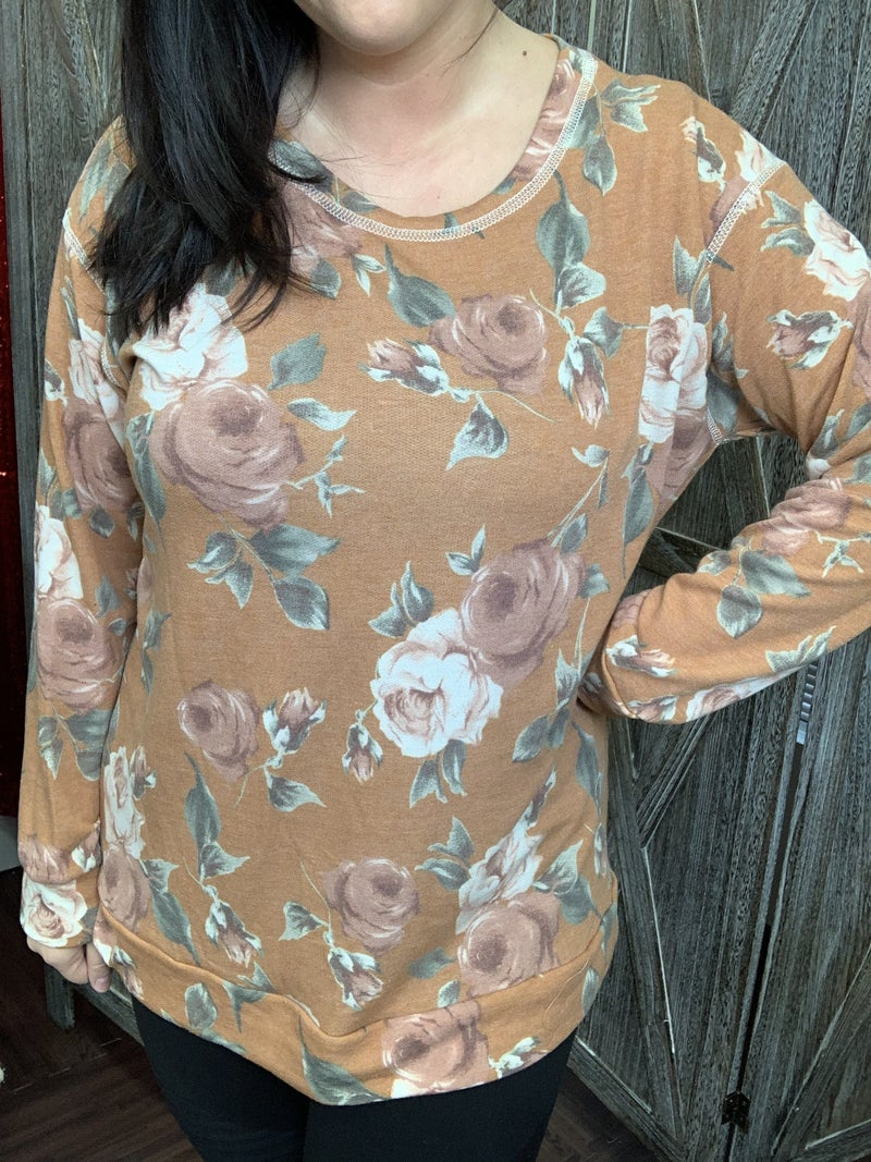Long Sleeve Floral Top with Stitch Detail