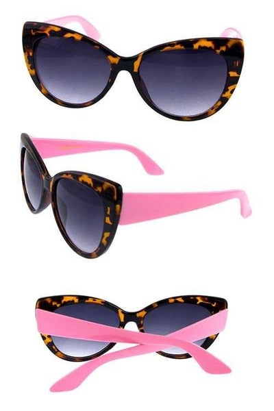 Kids Cat Eye Fashion Sunglasses with Contrast Detail