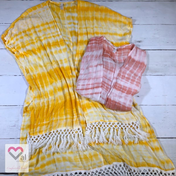 Short Sleeve Tie Dye Kimono with Bottom Fringe