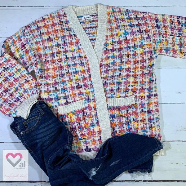 Long Sleeve Rainbow Tweed Open Front Knit Cardigan