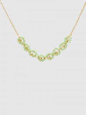 Seed Beaded Flower Linked Delicate Necklace