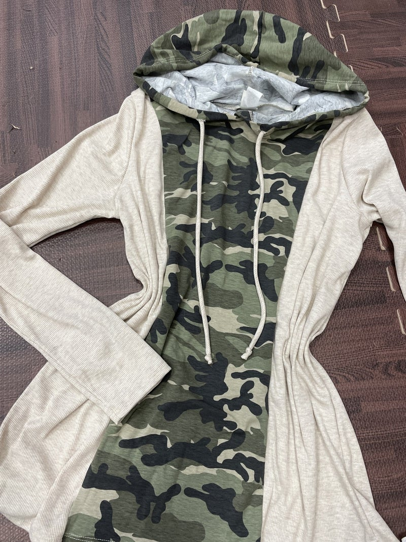 Long Sleeve Solid and Camo Hoodie Top