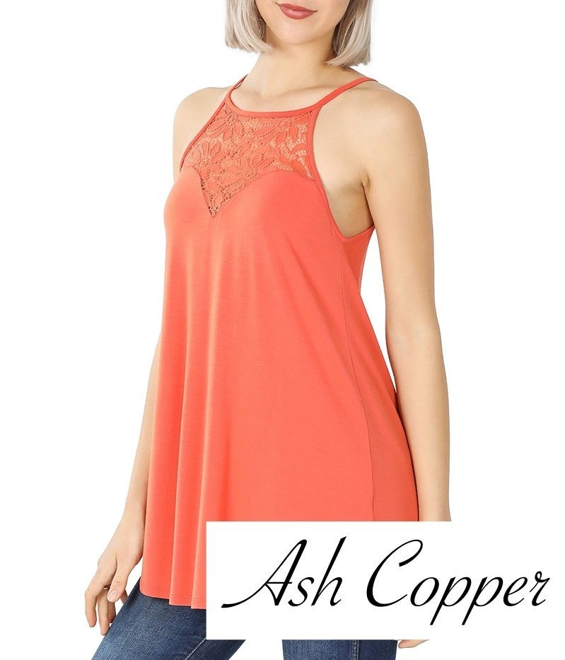 Sleeveless Halter Top with Lace Neckline Detail