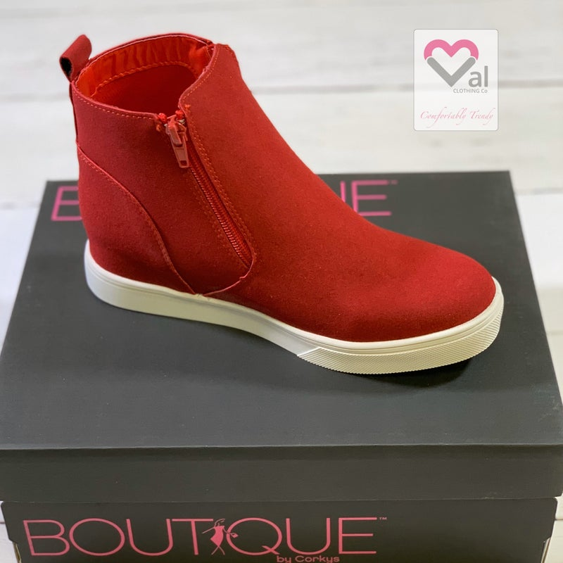 Corkys Hunt Red Suede Zipper Wedge Shoes
