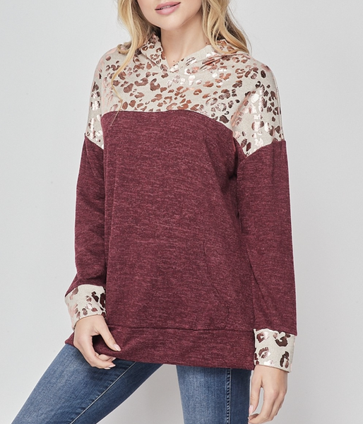Long Sleeve Metallic Leopard and Solid Knit Hoodie Top