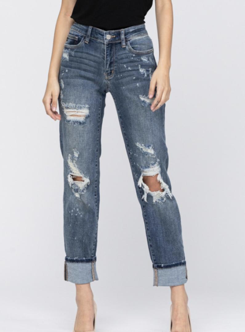 Judy Blue Dark Wash Mid Rise Bleach Splatter Boyfriend Jeans