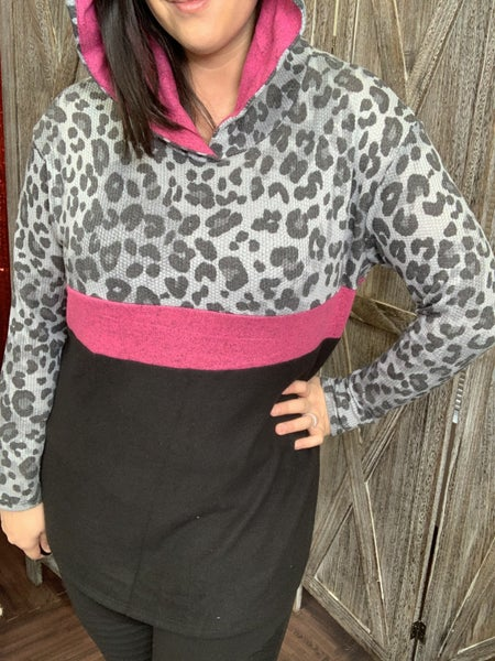 Long Sleeve Leopard and Solid Colorblock Hoodie Top