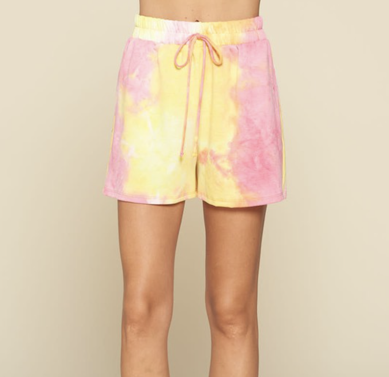 Lounge Shorts in Abstract Tie Dye Print