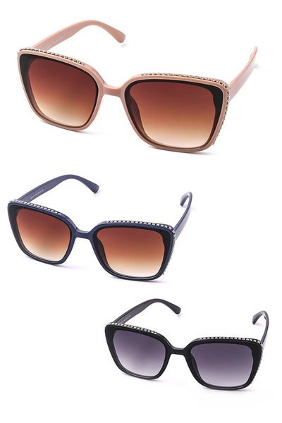 Square Fashion Sunglasses with Studded Frame
