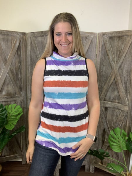Sleeveless Tie Dye Stripe Top with Attached Covering