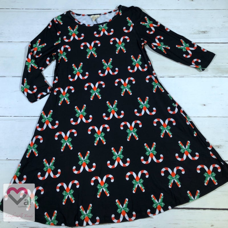 Half Sleeve Candy Cane Print Swing Dress with Pockets