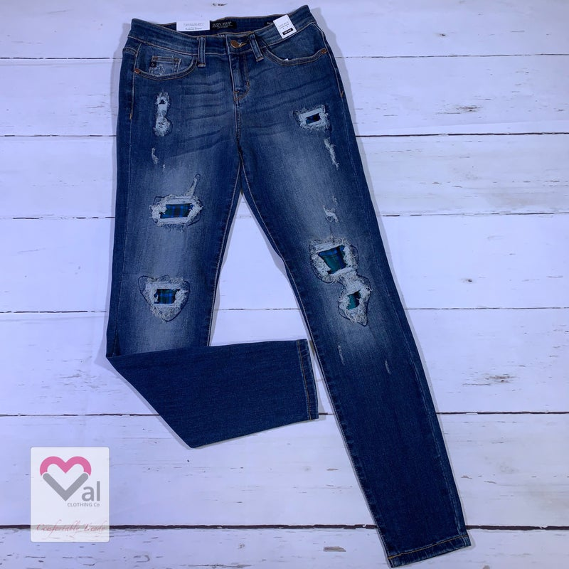 Judy Blue Mid Rise Green Plaid Patch Skinny Jeans