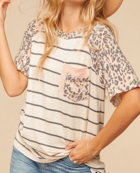 Short Leopard Sleeve Striped Top with Pocket Detail