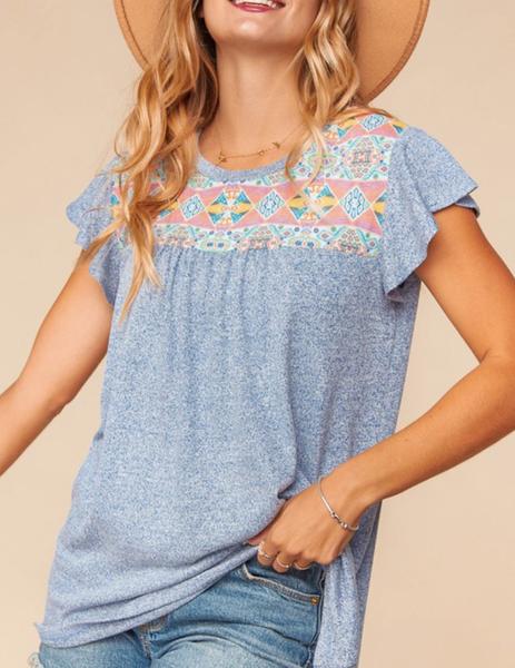 Short Ruffle Sleeve Aztec & Solid Print Top