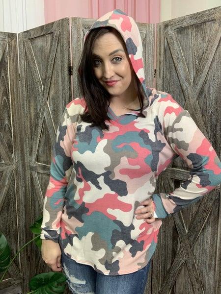 Long Sleeve Multi Camo Print Hoodie Top