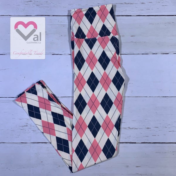 Pink, Grey, Cream Argyle Printed Leggings
