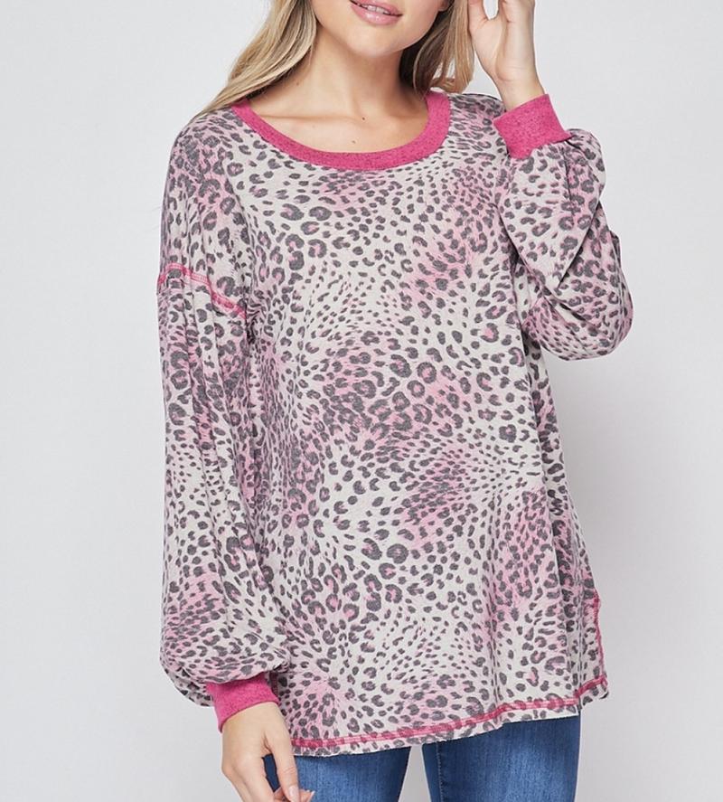 Long Bubble Sleeve Pink Leopard Print Top