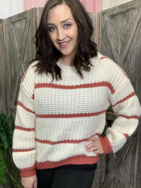 Long Bubble Sleeve Striped Sweater