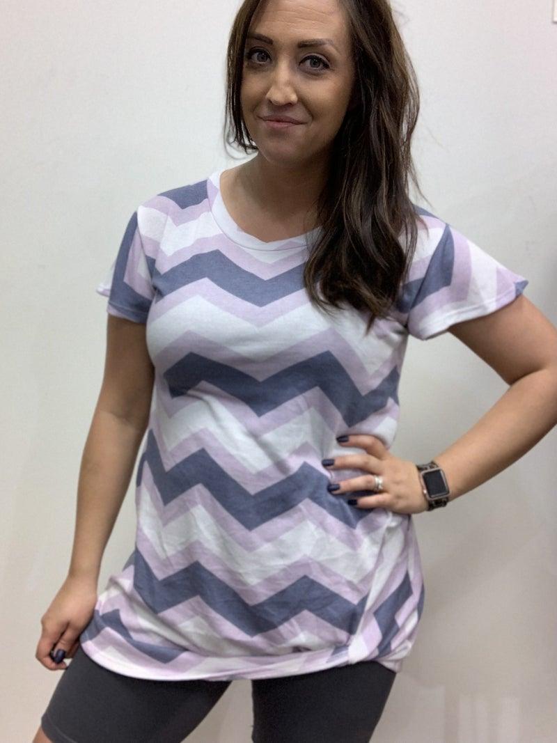 Short Sleeve Chevron Print Tunic Top Dress