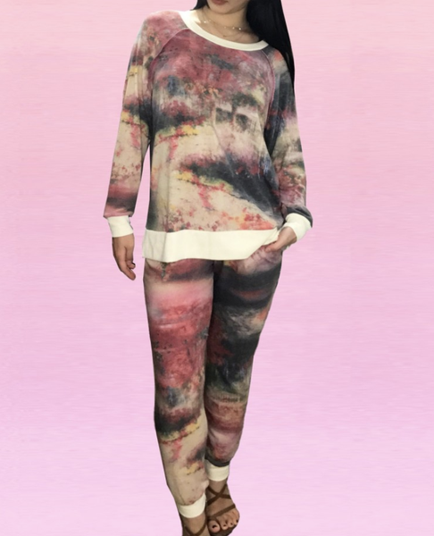 Full Length Joggers in Watercolor Print