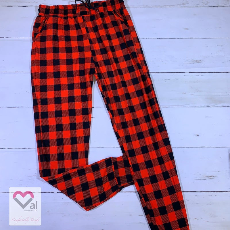 Leggings Material Red Buffalo Plaid Printed Joggers