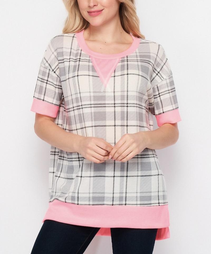 Short Sleeve Plaid & Solid Printed Top