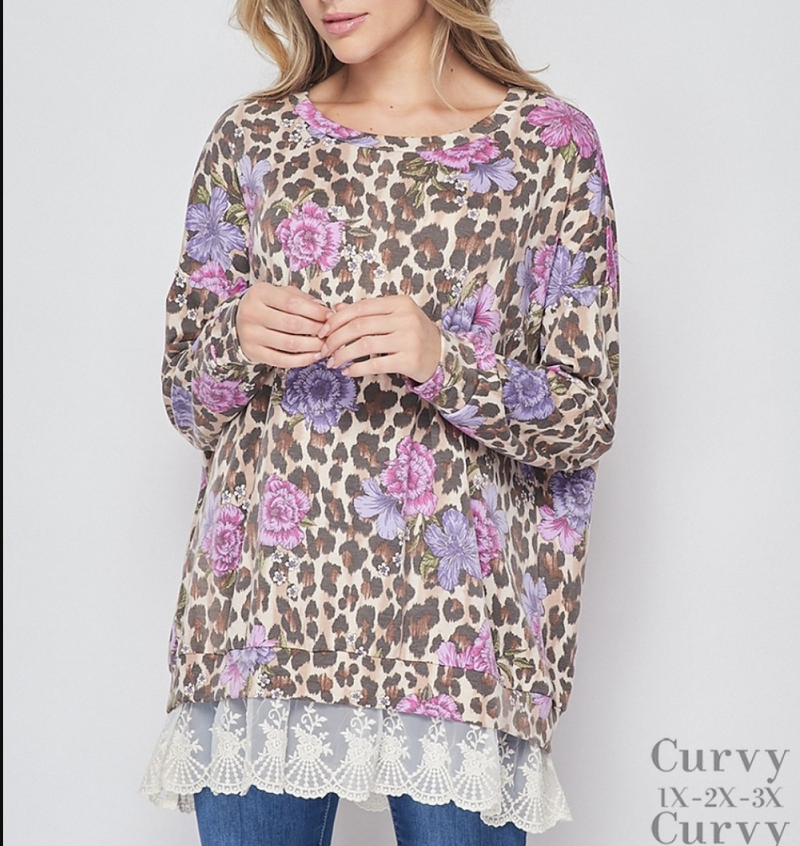 Long Sleeve Leopard Floral Top with Bottom Lace Detail