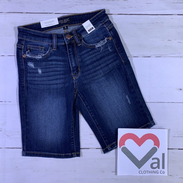 Judy Blue Dark Wash Relaxed Bermuda Jean Shorts