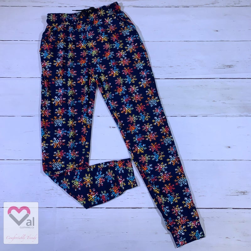 Leggings Material Multicolored Snowflake Printed Joggers