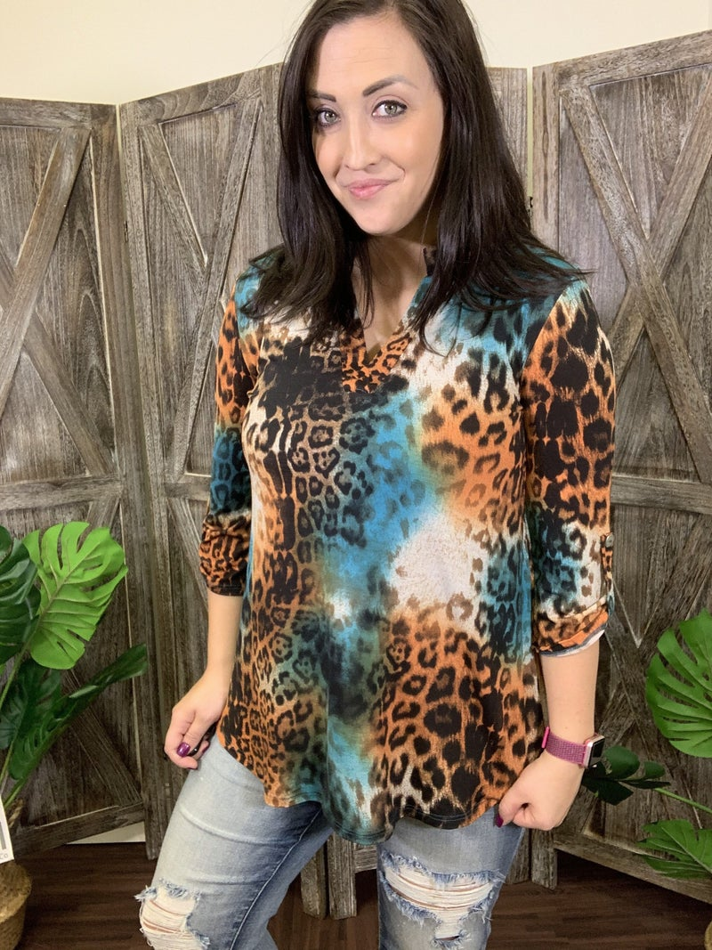3/4 Rolled Sleeve Mock V Neck Multicolored Wildcat Print Top