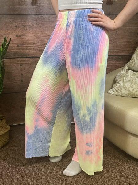 Full Length Wide Leg Tie Dye Pants
