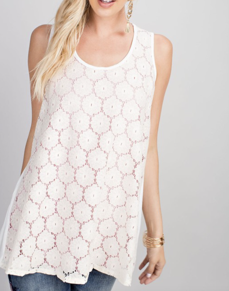 Sleeveless Round Neck Embroidered Top