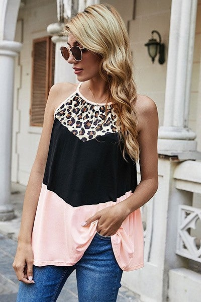 Solid and Leopard Color Blocked Tank Top