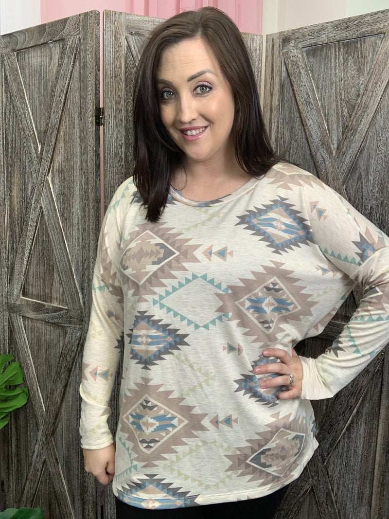 Long Sleeve Muted Aztec Top