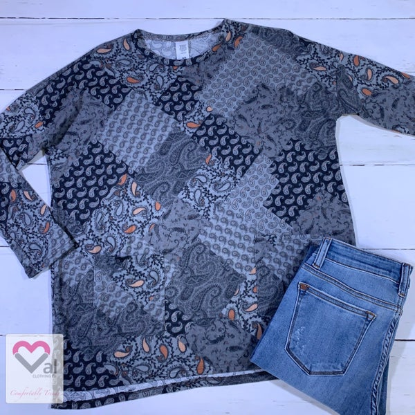 Long Sleeve Multi Paisley Print Top with Pockets